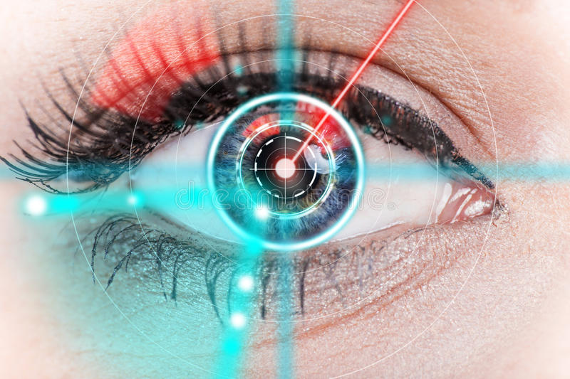 Close-up woman eye with laser medicine. Technology concept stock photo