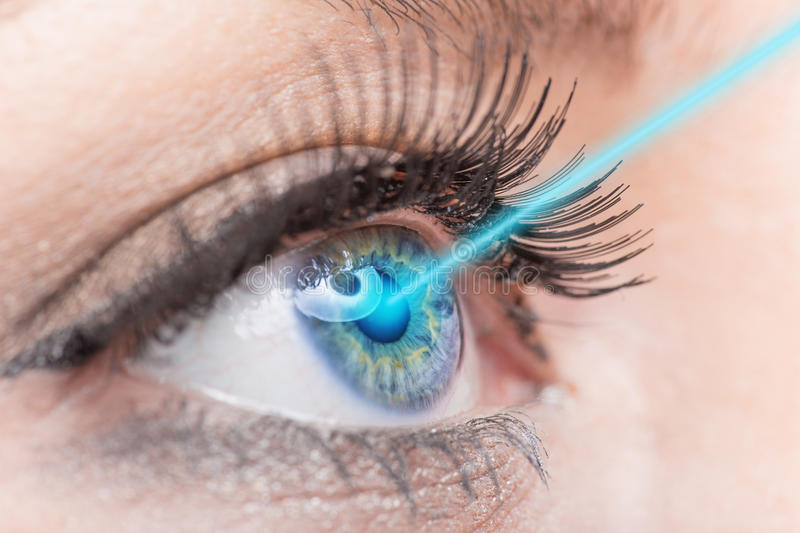 Close-up woman eye with laser medicine. Technology concept royalty free stock image