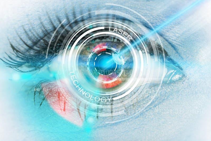 Close-up woman eye with laser medicine. Close-up woman eye with laser medicine, technology concept stock photos
