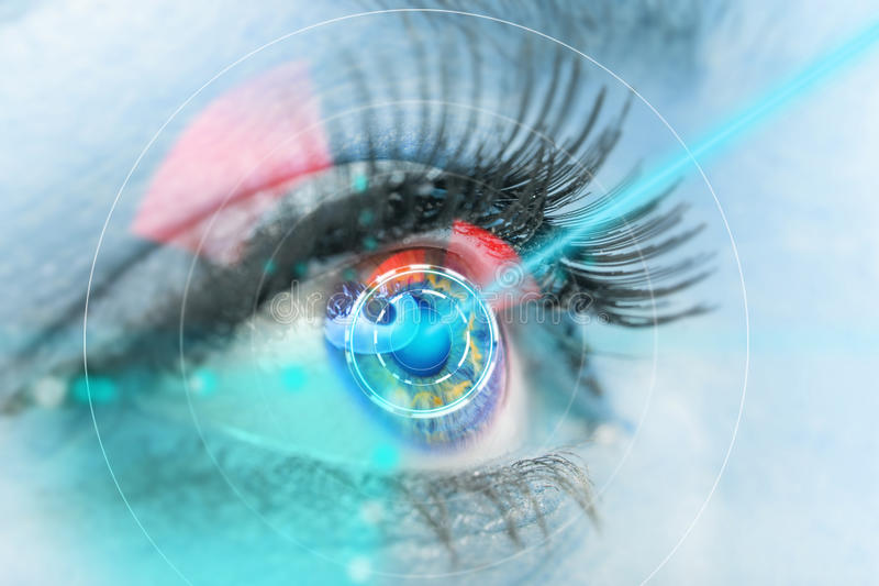 Close-up woman eye with laser medicine. Close-up woman eye with laser medicine, technology concept royalty free stock photo