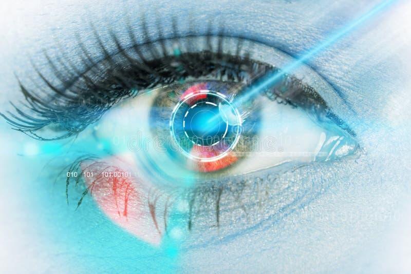 Close-up woman eye with laser medicine. Close-up woman eye with laser medicine, technology concept royalty free stock photos