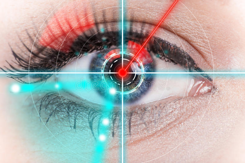 Close-up woman eye with laser medicine. Close-up woman eye with laser medicine, technology concept stock image