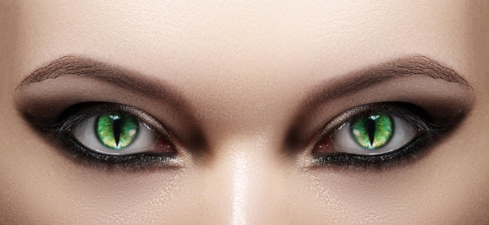 Close-up of Woman Eyes. Halloween Makeup. Cat Eye Lens. Fashion Catwalk Black Make-Up. Luminous Green Cats Eyes royalty free stock photography