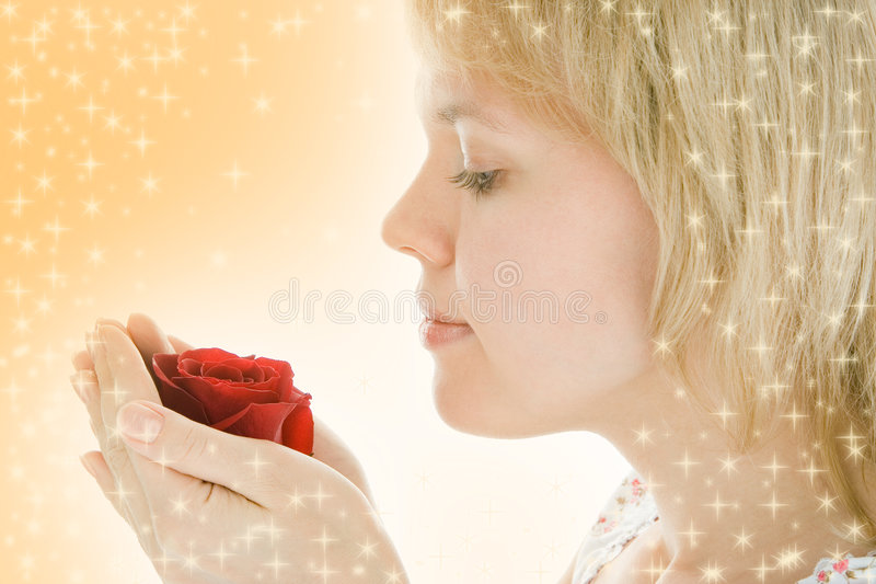 Download Close-up Woman Face With Rose Flower Royalty Free Stock Image - Image: 3706636