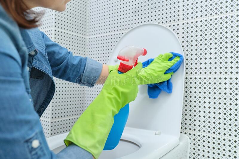 Close up of woman in gloves with rag and detergent cleaning toilet bowl stock photo
