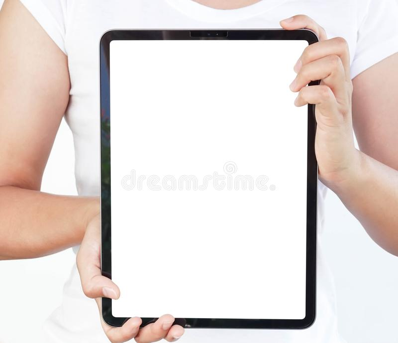 Close up woman hand holding digital tablet computer with white screen for text or product advertising concept royalty free stock photos