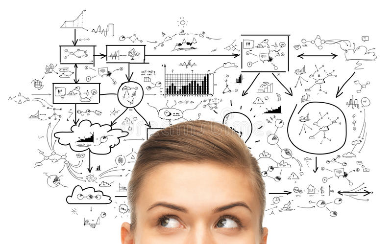 Close up of woman looking to scheme or plan royalty free stock images
