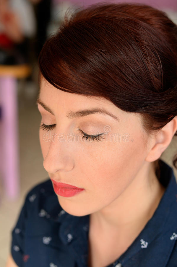 Close up of a woman with make up. Portrait of a woman with make up stock photography