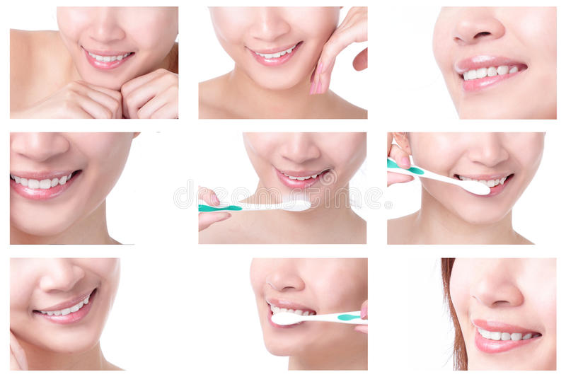 Close up of woman mouth and brushing teeth royalty free stock images