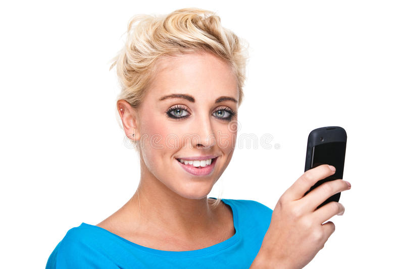 Close-up Woman Reading Text Message On Cell Phone Royalty Free Stock Image