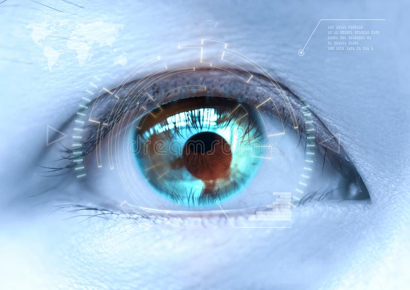 Close-up of woman`s blue eye the futuristic, contact lens, eye c. Ataract royalty free stock image