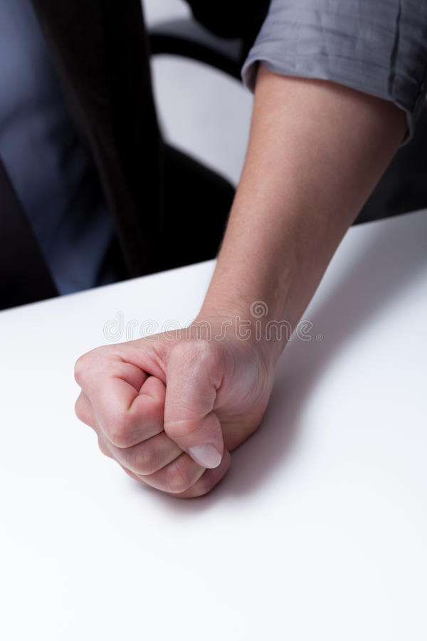Close-up of woman's decided hand. On business meeting royalty free stock image