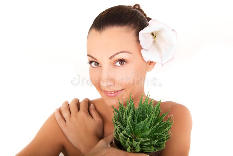 Close up, woman's face with aloe stock image