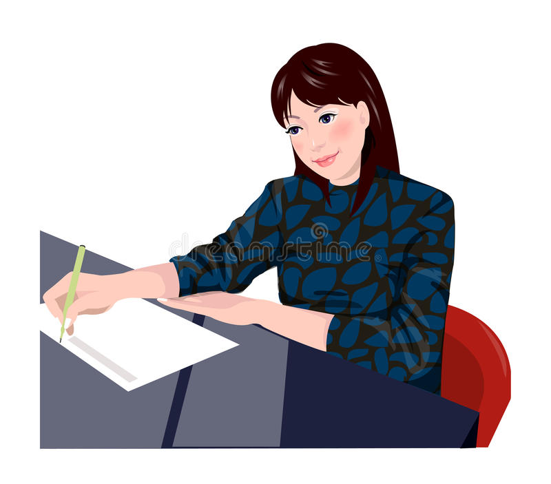 Close-up of woman. Sitting stock illustration