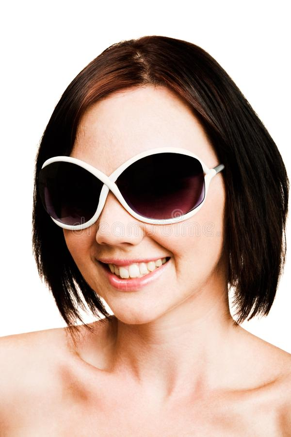 Close-up of woman wearing sunglasses stock image