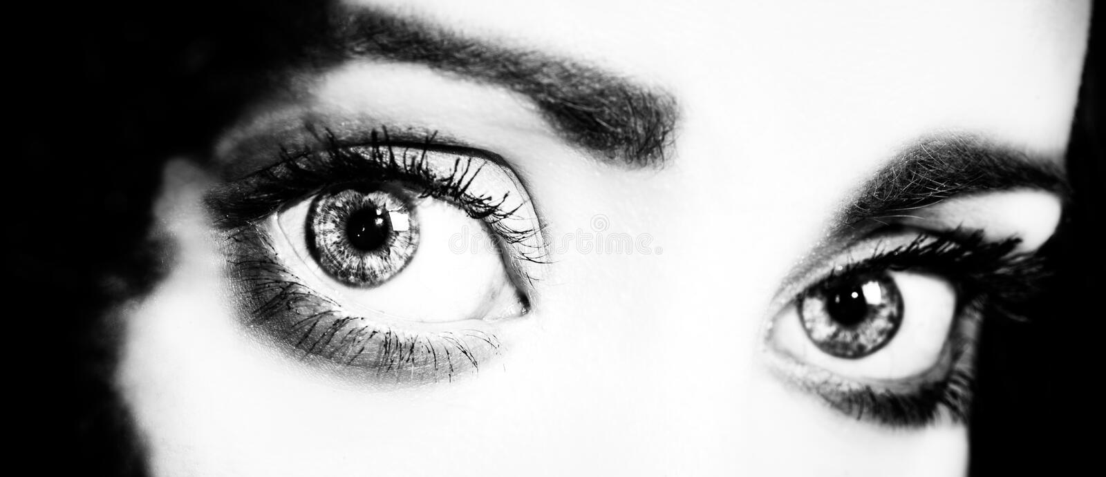 Close up of a womans eyes stock images
