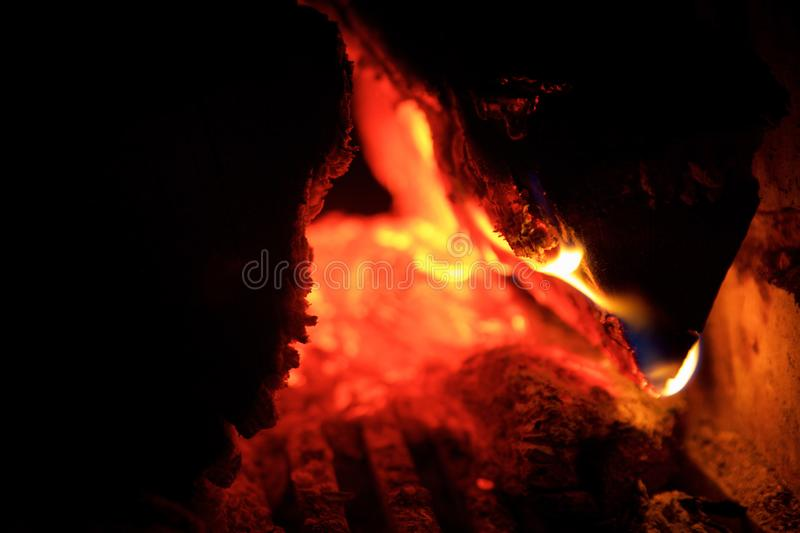 Close-up of a wood fire burning stock photo