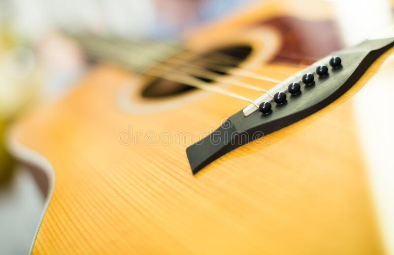 Close up of wooden body of guitar. Close-up of wooden body of Six-string guitar royalty free stock image