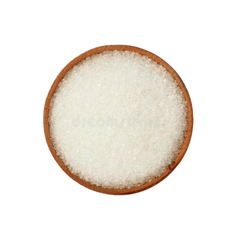 Close up wooden bowl full of white sugar isolated stock photography