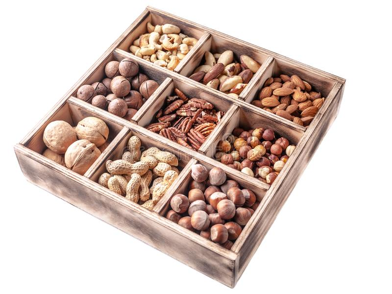 Close-up wooden box with different kinds of nuts on a white background. Isolated object royalty free stock photos