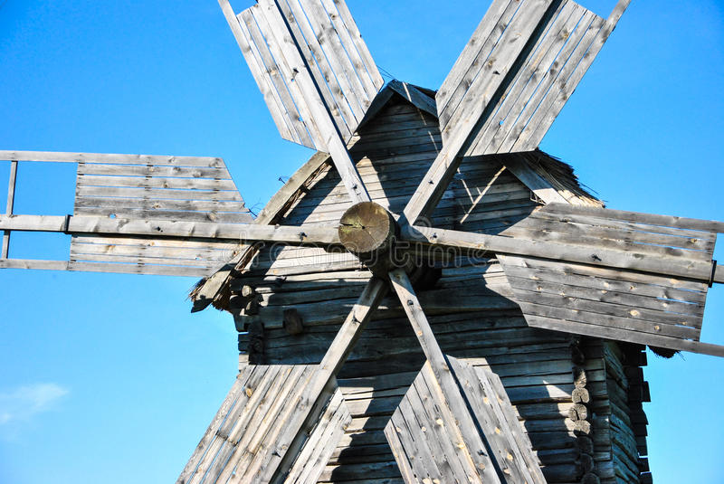 Close-up of wooden details of traditional ukrainian windmill at museum of Ukrainian folk architecture in Pirogovo village, Kiev royalty free stock image
