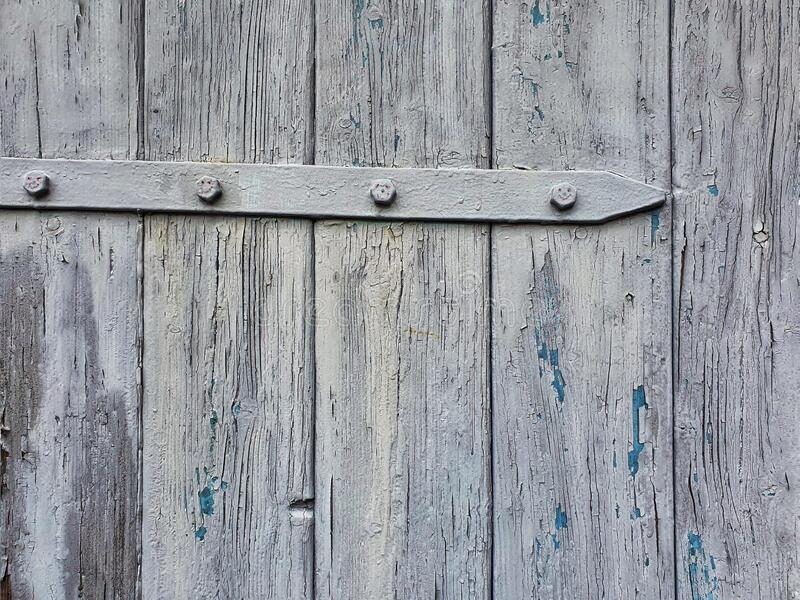 Close up of a wooden garage door stock photography