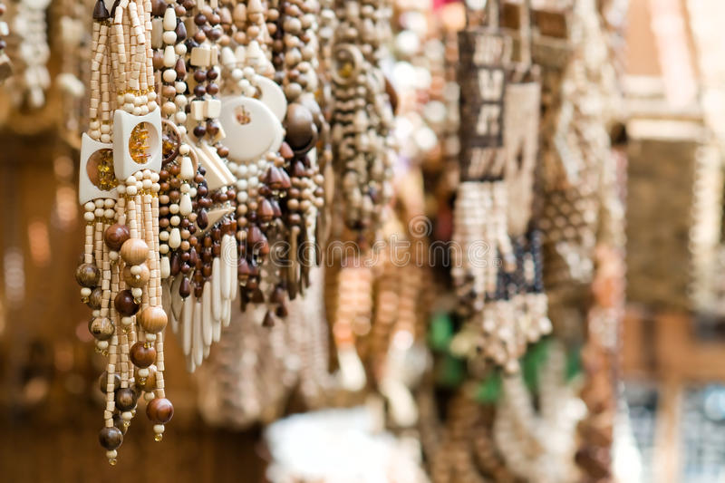 Close up of wooden handmade jewelry stock images