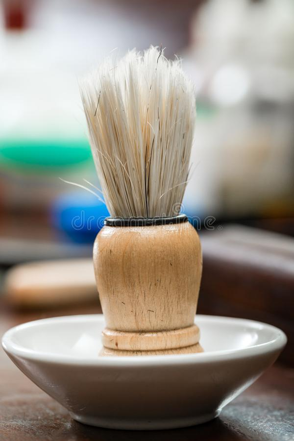 Wooden shaving brush stock image