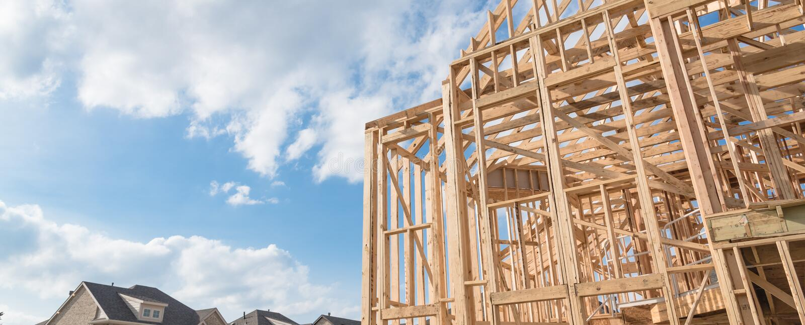 Close-up wooden timber frame house in Irving, Texas, USA royalty free stock photo