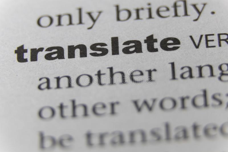 Close up of word translate.  stock photography