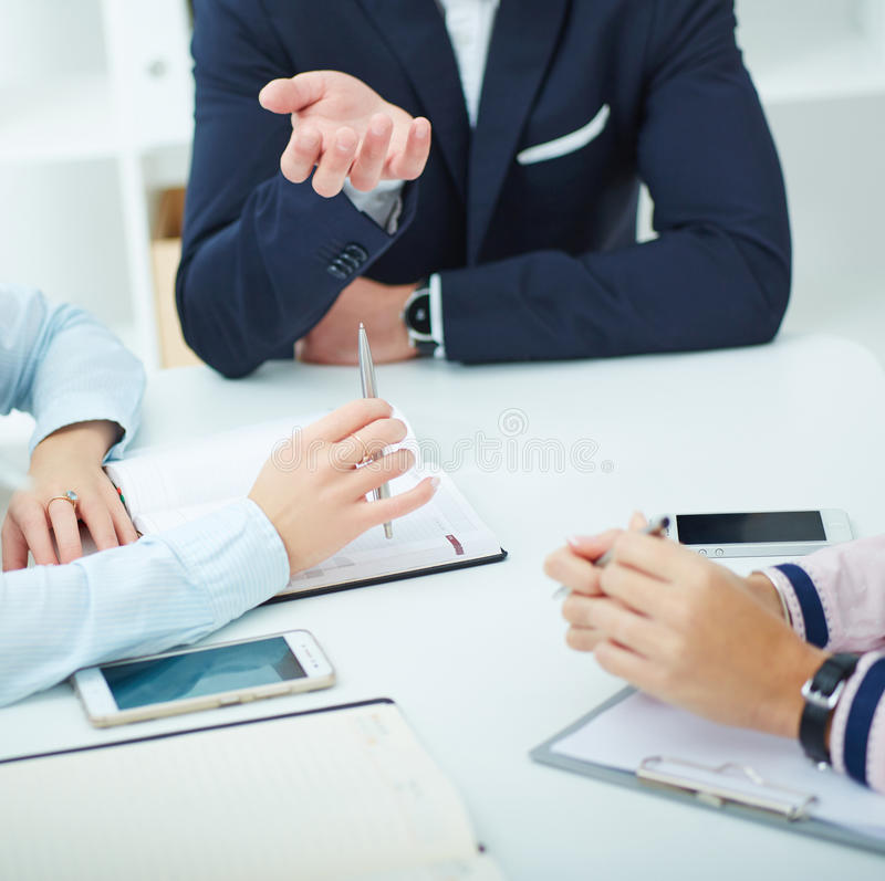 Close up of working process at business meeting royalty free stock photos