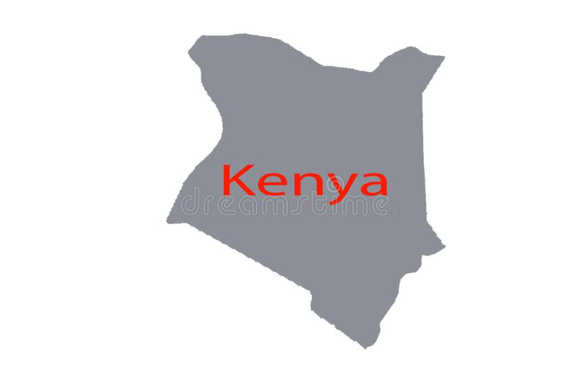 Close up of a world map with the country of Kenya in focus royalty free illustration