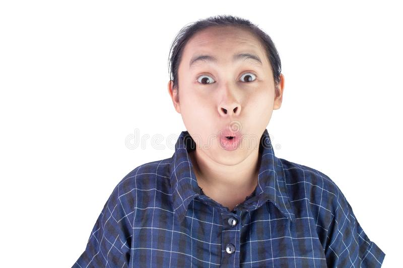 Close-up wow and surprised face of Asian young woman wearing blue shirt isolated on white background stock photos