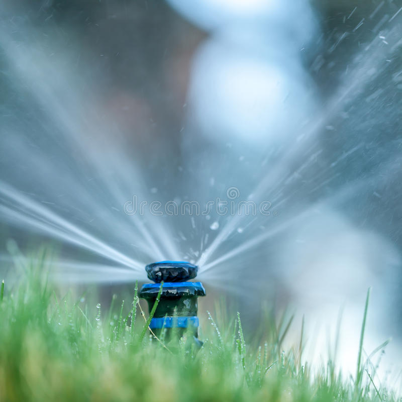 Close up of yard sprinkler with blurred background royalty free stock image