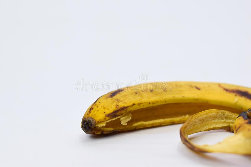 Close up yellow banana peel isolated on white background royalty free stock images