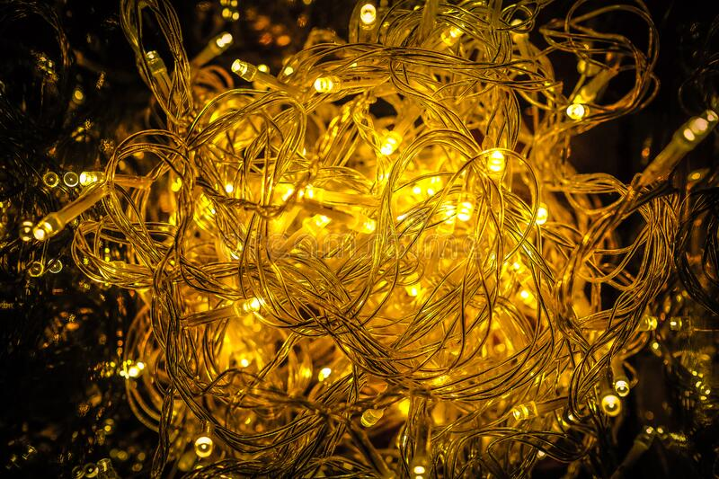 Close-up of Yellow Christmas Lights stock photos