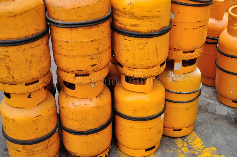 yellow gas Propane tanks stock images