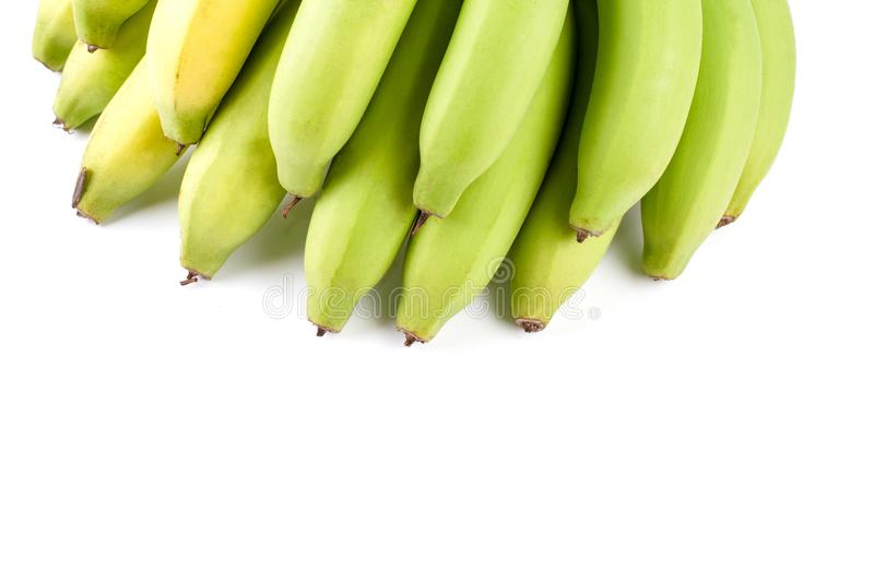 Yellow Green Banana Comp. Close up Yellow Green Banana Comp isolated on white background and have copy space stock photo