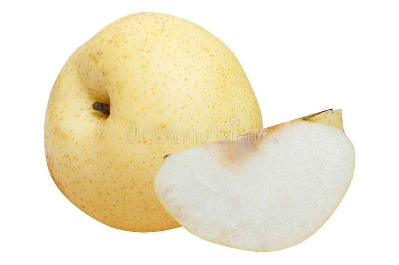 Yellow pear isolated on white background. Close up of yellow pear isolated on a white background royalty free stock photo