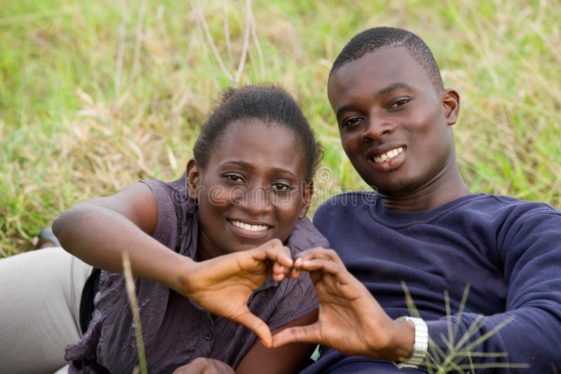 Close up of young african couple, happy royalty free stock photo
