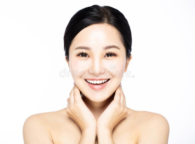 Close up young smiling beauty face stock image