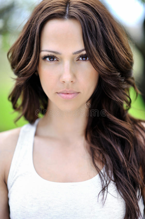 Close up of young beautiful woman - portrait. Close up of young beautiful woman portrait royalty free stock photos