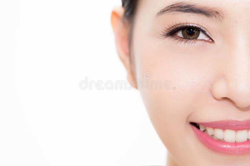 Close-up of Young beauty Asian face focused on eyes, beautiful woman isolated over white background stock photo