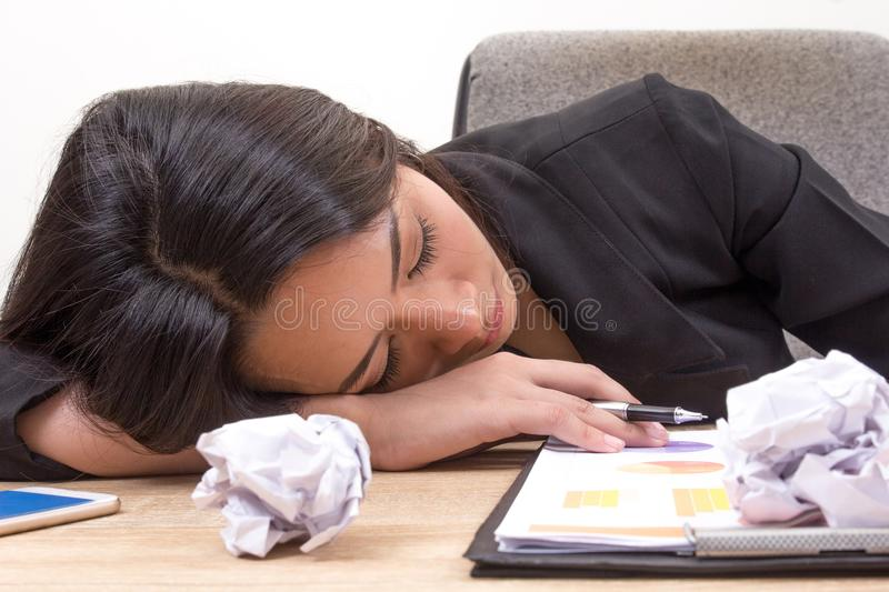 Close up young business woman Sleep at work. Tired, overworking, royalty free stock photos