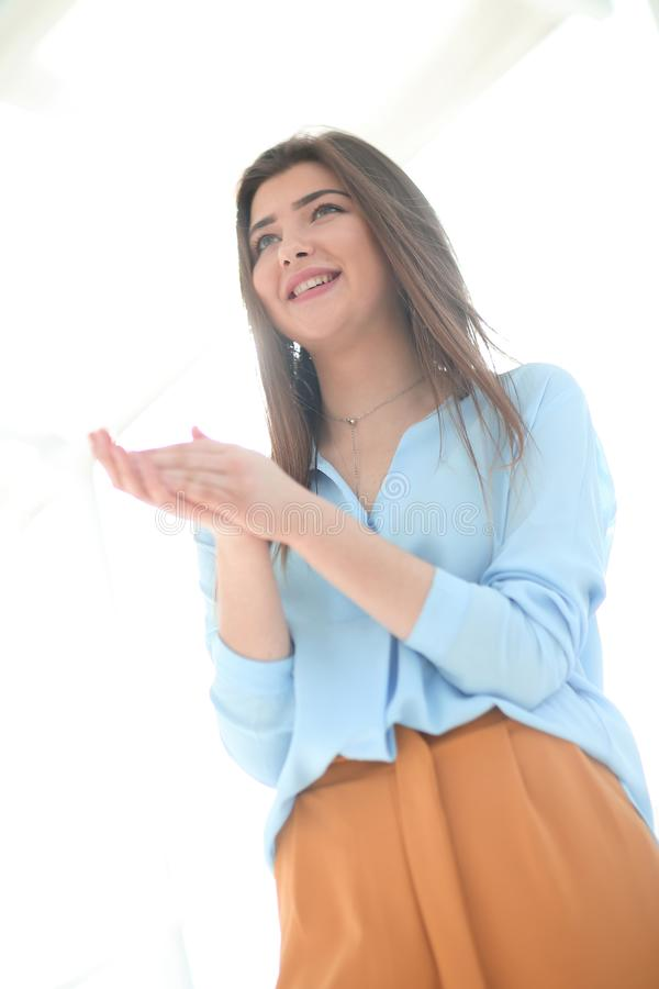 Close up. young business woman standing in office stock photo