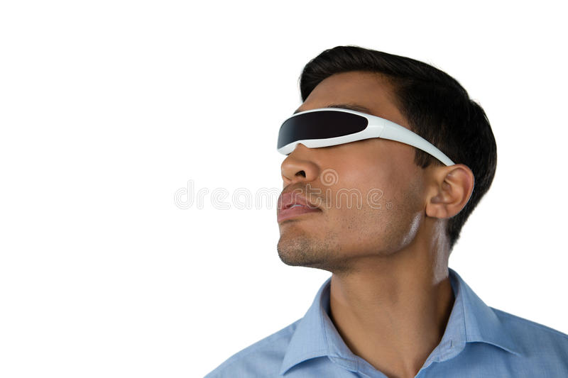 Close up of young businessman using smart glasses stock photo