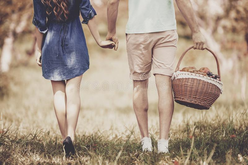 Close up. Couple Walking in Park on Sunny Day. royalty free stock images