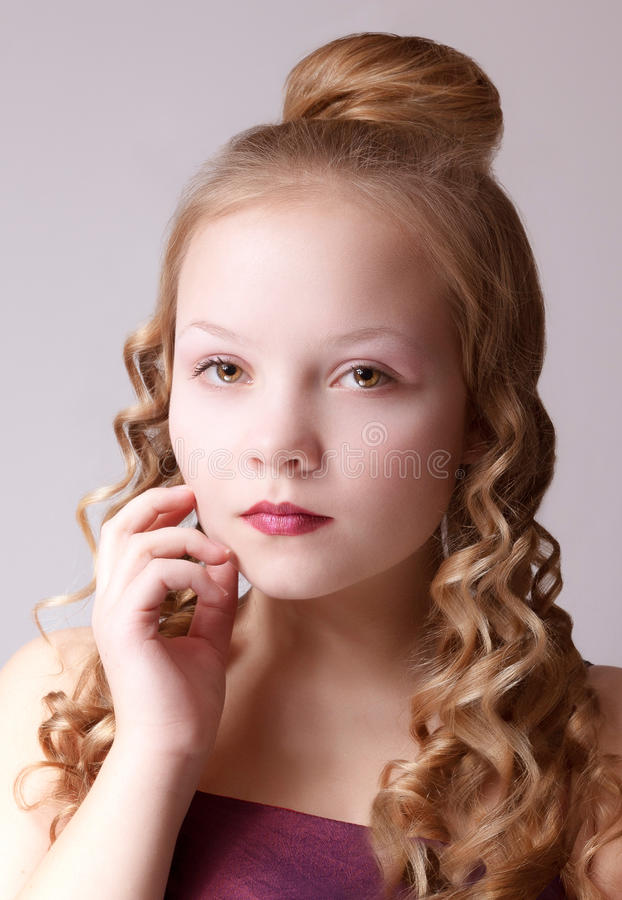 Close up young girl portrait royalty free stock photo