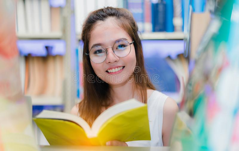 Close up Young Girl Students with School Folders. Book in Education Campus University library stock photography