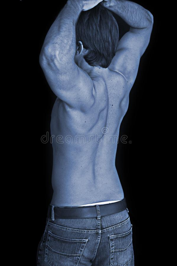 Close up of a young man back stock image